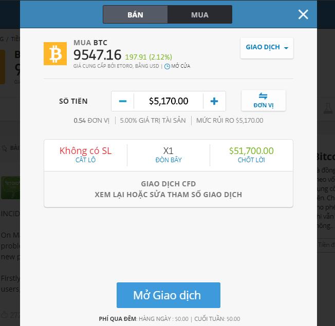 Làm sao để mua Bitcoin trên Etoro?