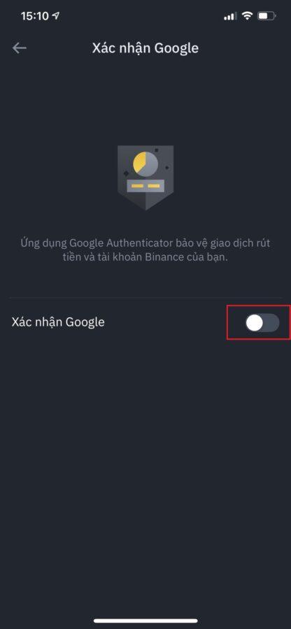 binance trên điện thoại - Google Authenticator