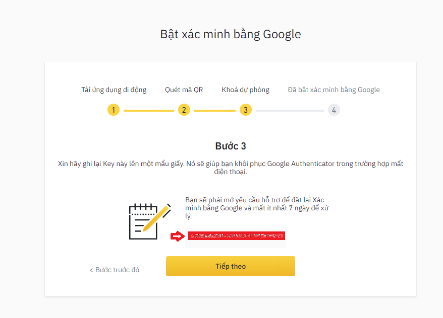 xác nhận Google trên sàn Binance