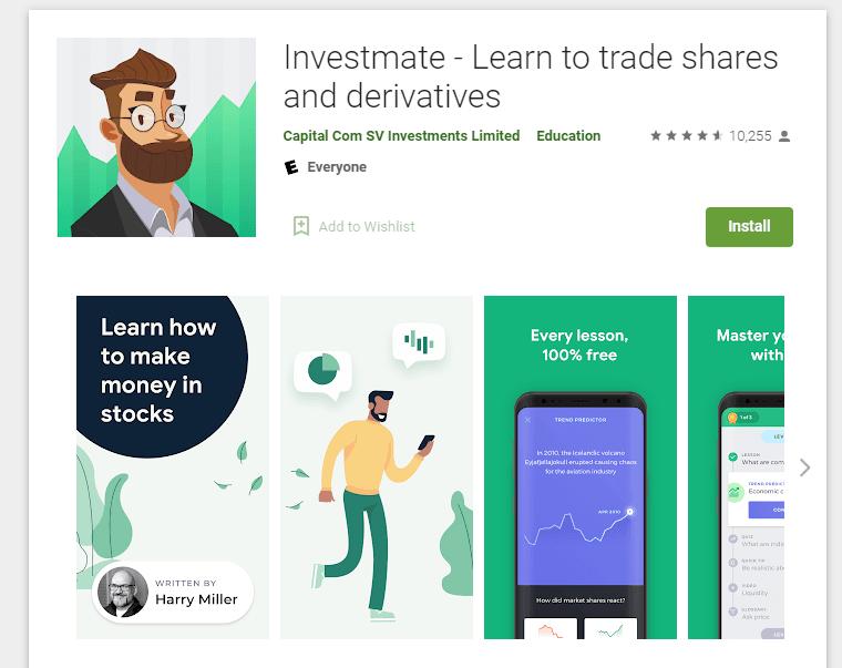 Ứng học học giao dịch Investmate được cung cấp bởi Capital.com
